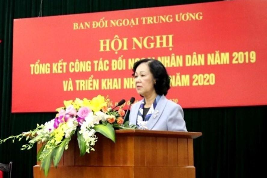Uỷ viên Bộ Chính trị, Bí thư Trung ương Đảng, Trưởng Ban Dân vận Trung ương Trương Thị Mai phát biểu chỉ đạo Hội nghị tổng kết công tác đối ngoại nhân dân năm 2019. Ảnh: TTXVN