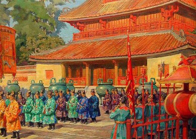 Tranh vẽ đại lễ ngày mùng 1 Tết ở Thế Miếu – Đại nội Huế năm 1923.
