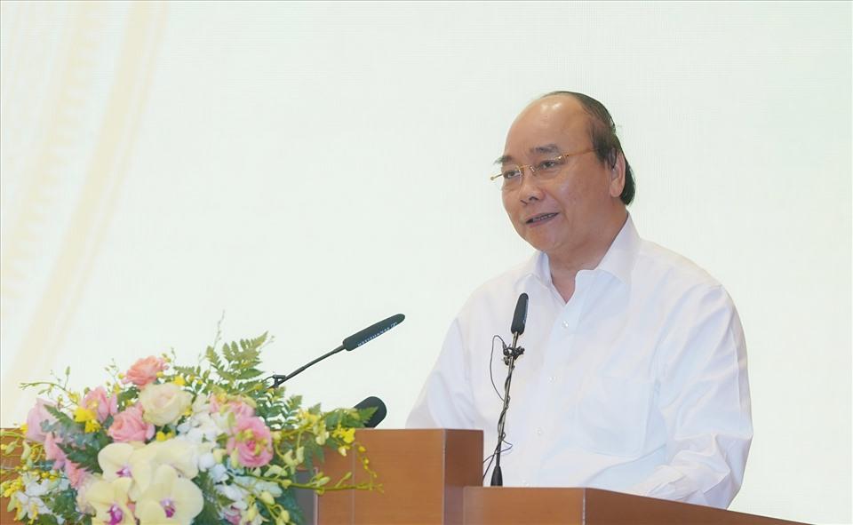Thủ tướng Nguyễn Xuân Phúc phát biểu tại buổi gặp mặt. - Ảnh: Quang Hiếu