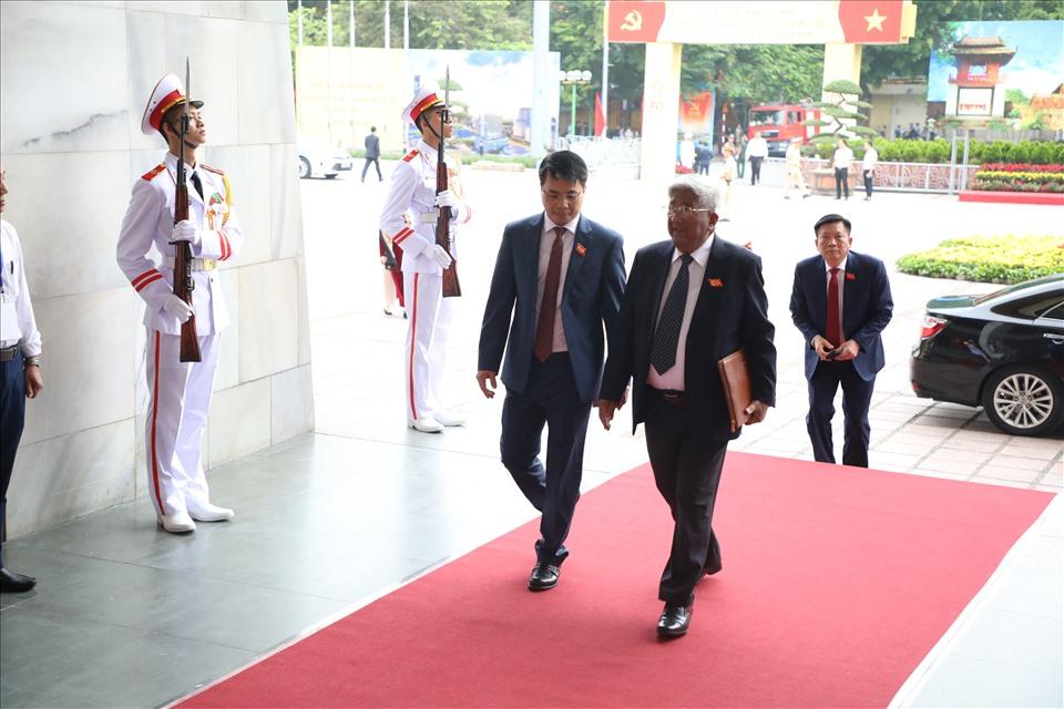 Nguyên Ủy viên Thường vụ - Thường trực Bộ Chính trị, nguyên Chủ tịch Ủy ban Trung ương MTTQ Việt Nam Phạm Thế Duyệt dự Đại hội.