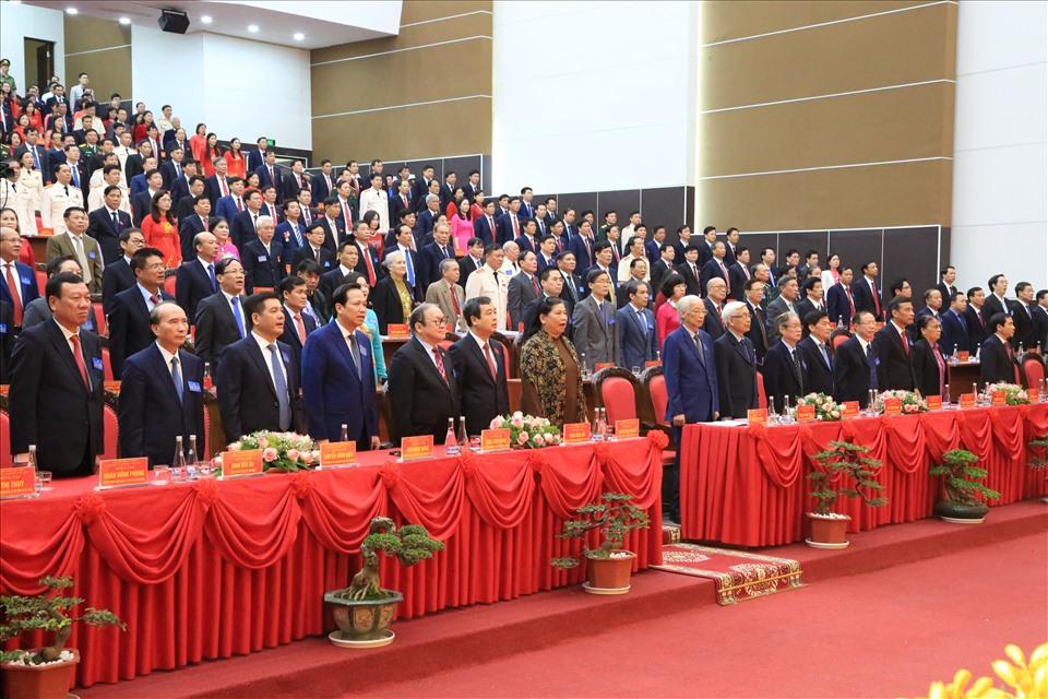 Sáng 14.10, Đại hội Đại biểu Đảng bộ tỉnh Thái Bình lần thứ XX nhiệm kỳ 2020-2025 chính thức khai mạc. Ảnh TB