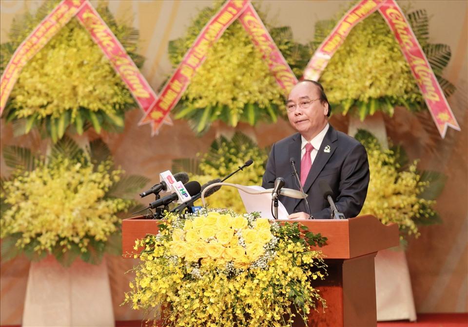 Thủ tướng Nguyễn Xuân Phúc phát biểu chỉ đạo Đại hội đại biểu Đảng bộ TP Hải Phòng sáng ngày 14.10 - ảnh HP