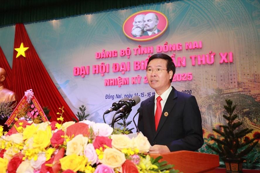 Ông Võ Văn Thưởng - Ủy viên Bộ Chính trị, Bí thư Trung ương Đảng, Trưởng Ban Tuyên giáo Trung ương phát biểu chỉ đạo tại đại hội. Ảnh: Minh Châu