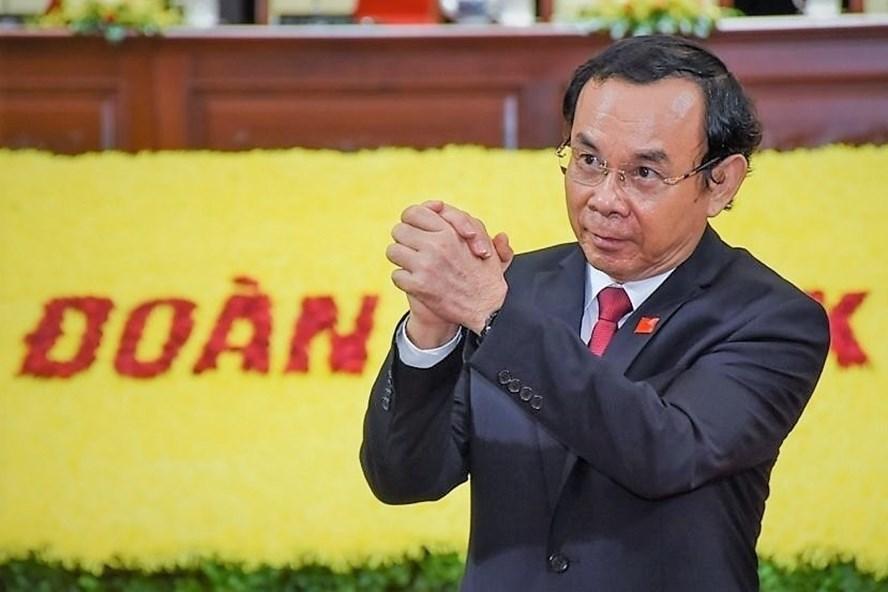 Ông Nguyễn Văn Nên được bầu làm Bí thư Thành ủy TPHCM nhiệm kỳ 2020 - 2025. Ảnh BTC Đại hội cung cấp.