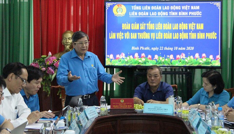 Ông Trần Thanh Hải phát biểu chỉ đạo tại buổi làm việc. Ảnh: Đình Trọng