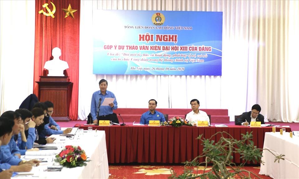 Ông Trần Thanh Hải - Phó Chủ tịch Thường trực Tổng LĐLĐVN - phát biểu tại hội nghị. Ảnh: Bảo Hân