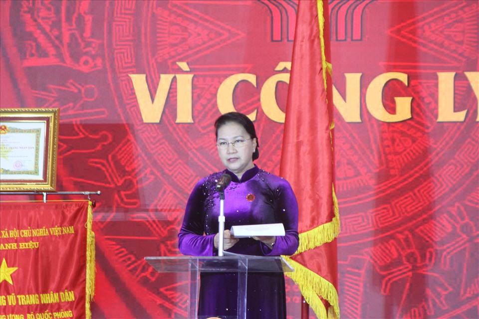 Chủ tịch Quốc hội Nguyễn Thị Kim Ngân phát biểu tại buổi lễ. Ảnh T.Vương
