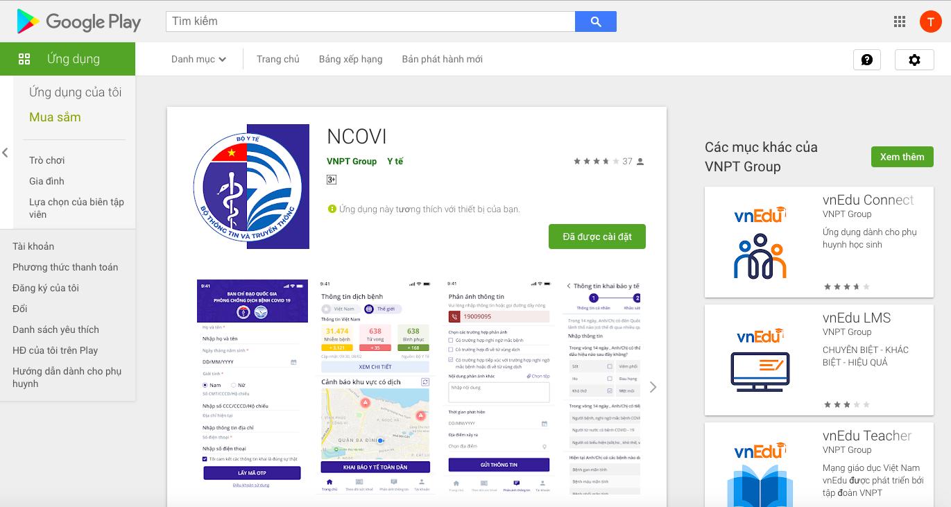 1. Trên điện thoại dùng hệ điều hành Android (các hãng, trừ iPhone): Vào Google Play, tìm kiếm cụm từ NCOVI, rồi tải xuống, cài đặt phần mềm NCOV do  VNPT cập nhật.