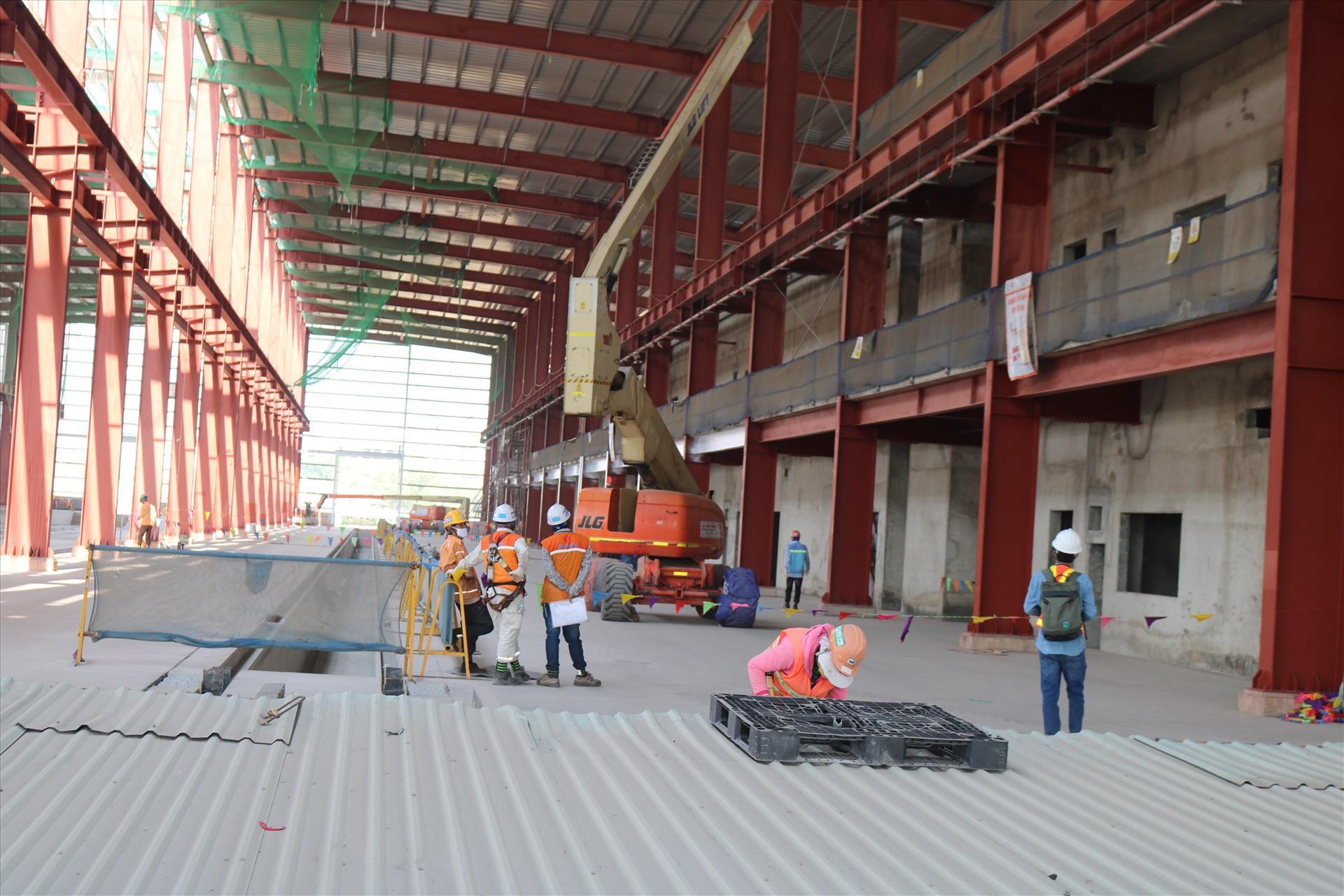 Khu bảo hành tàu tại Depot Long Bình sắp hoàn thành. Ảnh: PV