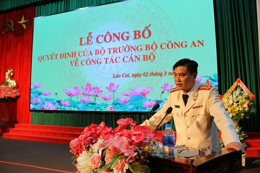 Đại tá Lưu Hồng Quảng, Giám đốc Công an tỉnh phát biểu tại lễ công bố Quyết định. Ảnh: Tống Huệ - Tuấn Hiếu