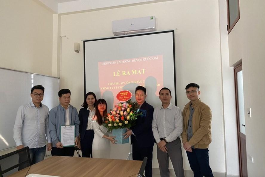 Lễ ra mắt Công đoàn cơ sở Công ty Cổ phần Công nghệ cao Thái Minh. Ảnh: CĐQO