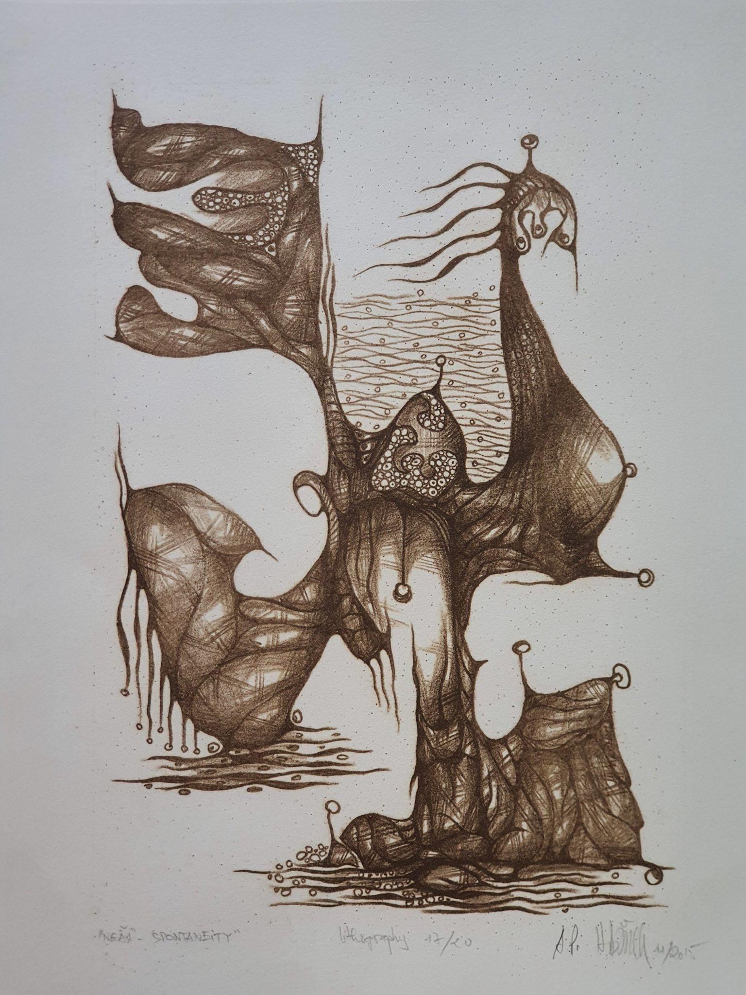 """Bộ tranh 3 bức """"Ngẫu liên Lotus in spontaneity"""" của họa sĩ Phan Hải Bằng được nhà sưu tập Nguyễn Thị Huệ sưu tập với giá 13,5 triệu đồng."""