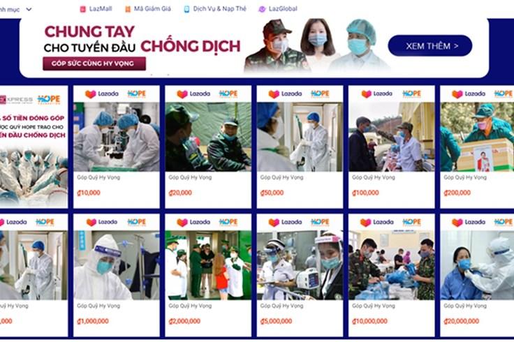 Lazada phối hợp Quỹ Hy vọng quyên góp trực tuyến, chung tay chống dịch