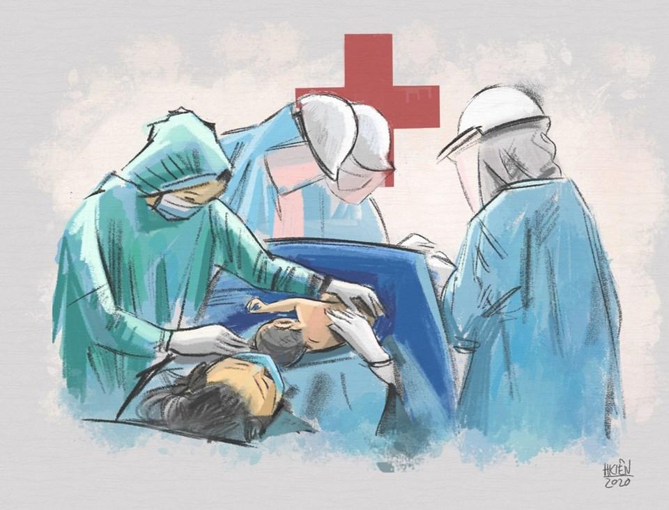 Bộ tranh phác họa lại khoảnh khắc xúc động khi các y, bác sĩ đón chào một em bé sinh ra trong giai đoạn cách ly vì COVID-19.