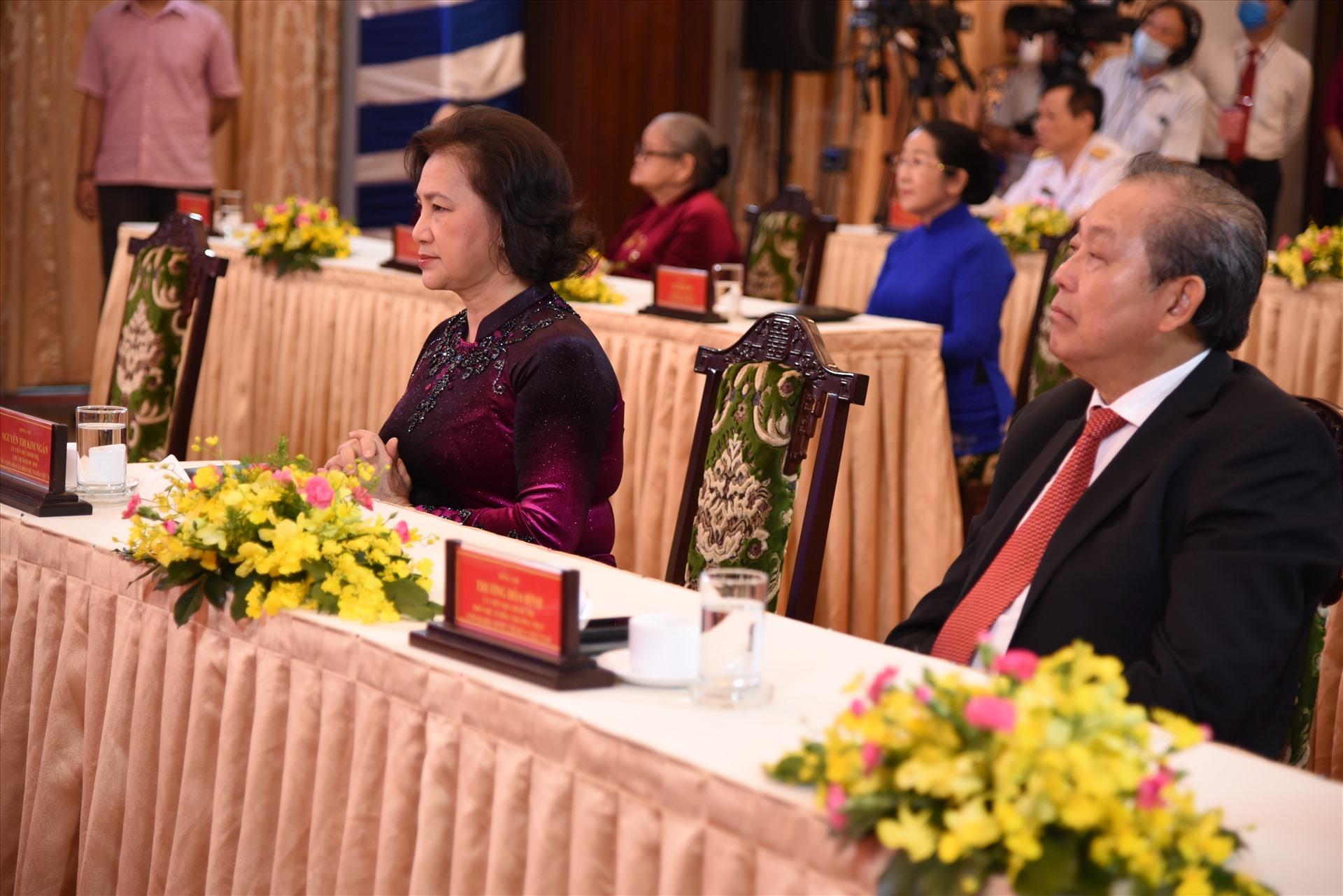 Chủ tịch Quốc hội Nguyễn Thị Kim Ngân và Phó Thủ tướng Thường trực Chính phủ Trương Hòa Bình tham dự lễ kỷ niệm. Ảnh Nam Dương