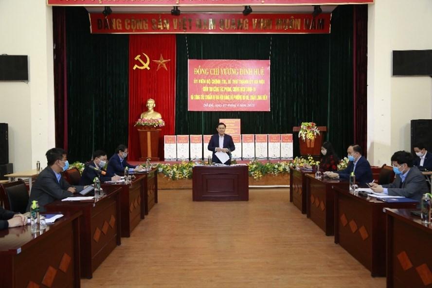 Bí thư Thành uỷ Hà Nội Vương Đình Huệ làm việc tại Bồ Đề, Long Biên chiều 7.4.