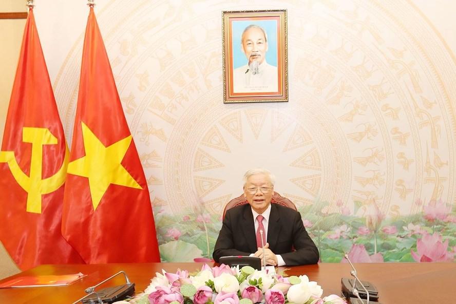 Tổng Bí thư, Chủ tịch Nước Nguyễn Phú Trọng điện đàm với Tổng thống Nga Vladimir Putin. Ảnh: TTXVN