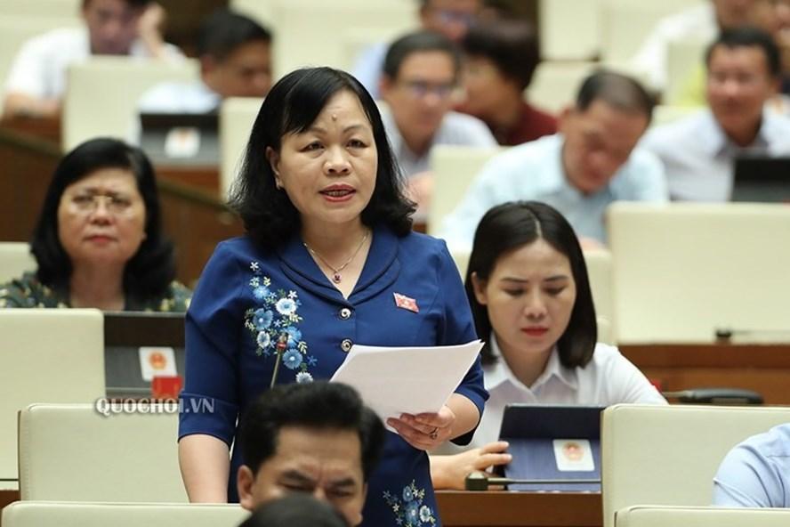 Đại biểu Nguyễn Thị Mai Hoa - Đoàn ĐBQH tỉnh Đồng Tháp phát biểu tại phiên họp. Ảnh Quochoi.vn