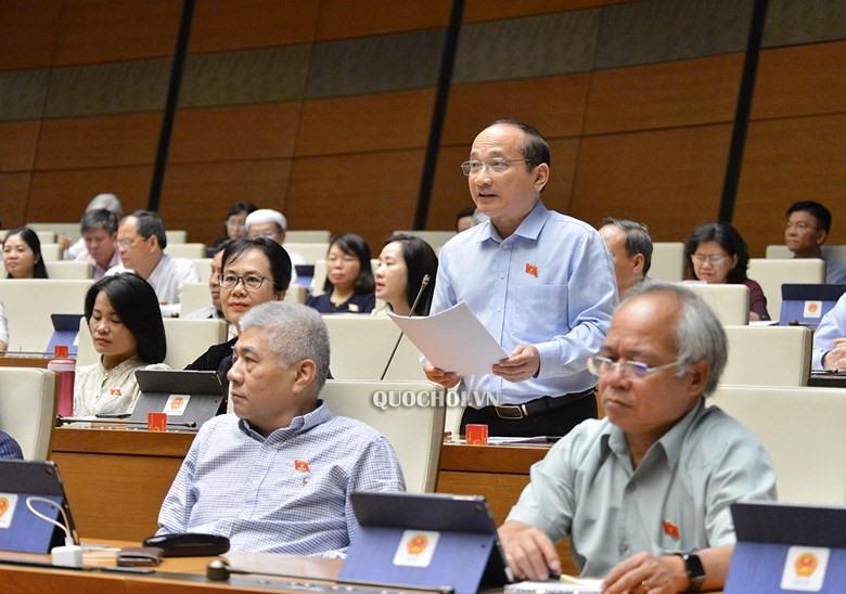 Đại biểu Nguyễn Thanh Hiền - Đoàn ĐBQH tỉnh Nghệ An phát biểu tại phiên họp.