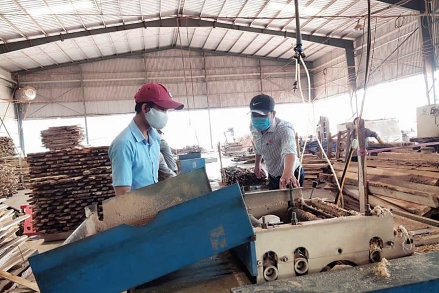 Anh Phạm Văn Nhi - công nhân Công ty TNHH Hào Hưng - đã có nhiều sáng kiến hợp lý hóa sản xuất gỗ dăm làm lợi hàng trăm triệu đồng. Ảnh: Đ.Dự