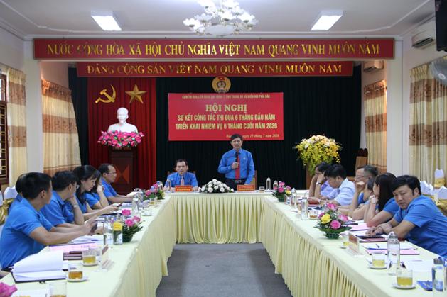 Đồng chí Nguyễn Văn Cảnh – Chủ tịch LĐLĐ tỉnh Bắc Giang phát biểu ý kiến tại Hội nghị. Ảnh: Thanh Loan.