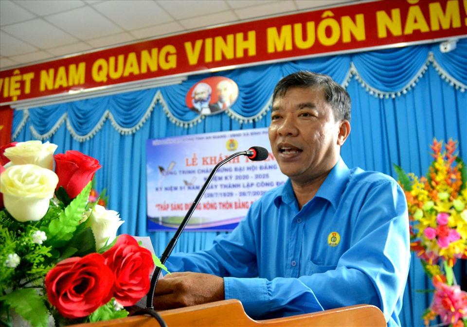 Phó chủ tịch LĐLĐ An Giang Nguyễn Hữu Giang phát biểu. Ảnh: LT