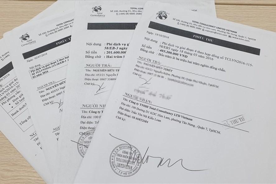 Các phiếu thu đóng tiền đi định cư tại Mỹ của Cty TNHH Total Consultancy Limited Việt Nam (TCLVN).