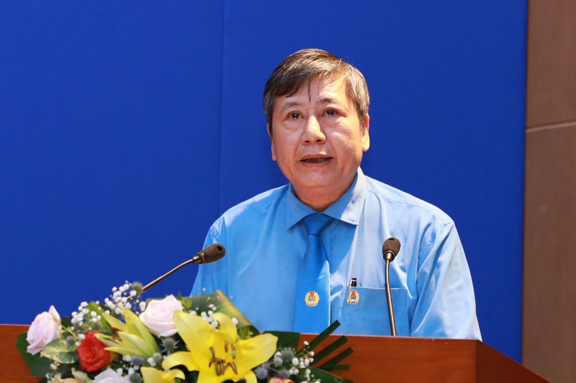 Đồng chí Trần Thanh Hải - Phó Chủ tịch Thường trực Tổng LĐLĐVN phát biểu tại Hội nghị. Ảnh: Hải Nguyễn