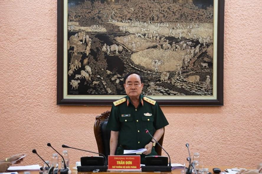 Thượng tướng Trần Đơn phát biểu tại hội nghị. Ảnh Nguyên Hải