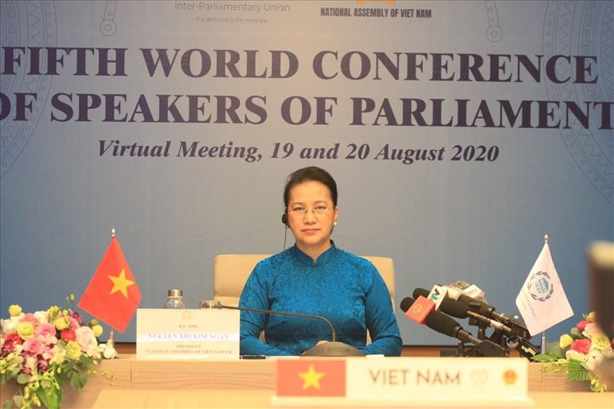 Chủ tịch Quốc hội Nguyễn Thị Kim Ngân - Trưởng đoàn Việt Nam tham dự Hội nghị. Ảnh T.Vương