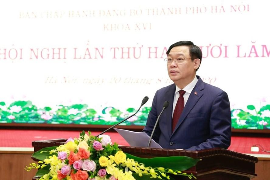 Bí thư Thành ủy Vương Đình Huệ phát biểu tại Hội nghị. Ảnh: V.Thành