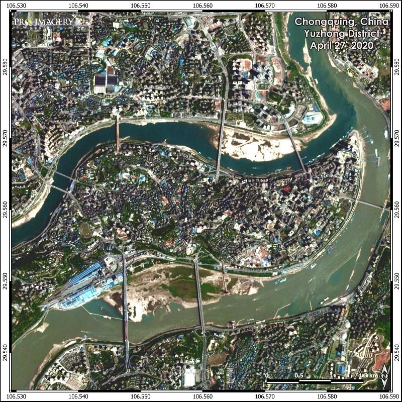 quận Du Trung ở Trùng Khánh trước và sau lũ. Ảnh: