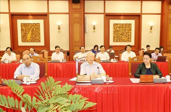 Tổng Bí thư, Chủ tịch nước Nguyễn Phú Trọng phát biểu chỉ đạo tại buổi làm việc với Ban Thường vụ Thành ủy Hà Nội. Ảnh: Trí Dũng/TTXVN