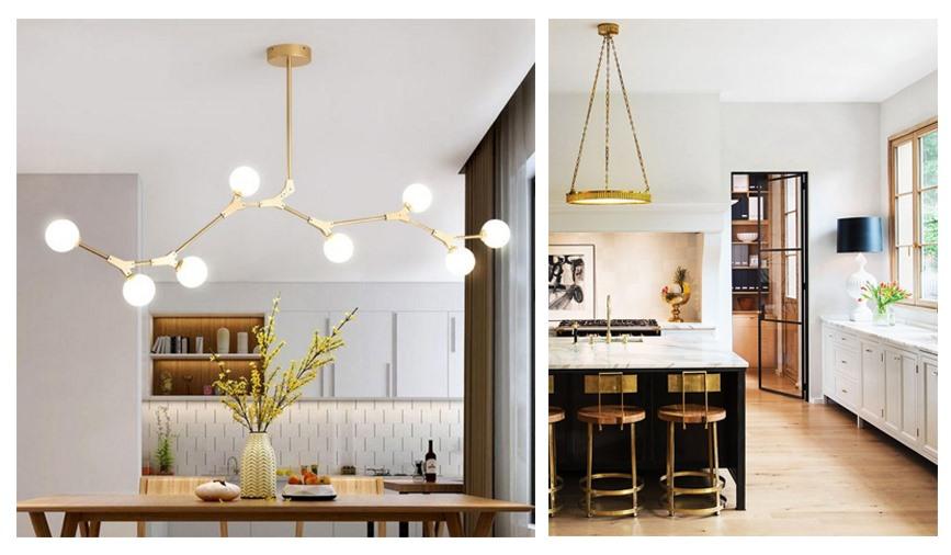 Đèn chiếu sáng ấn tượng trong phòng bếp