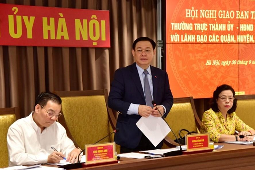 Bí thư Thành ủy Vương Đình Huệ phát biểu kết luận hội nghị. Ảnh: Hanoigov