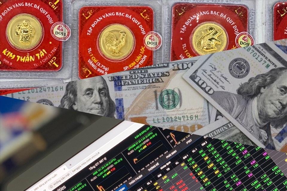 Giá vàng tăng mạnh trong phiên sáng, đồng USD tiếp tục suy giảm, thị trường chứng khoán lấy lại sắc xanh trong ngày 30.9. Ảnh minh hoạ.