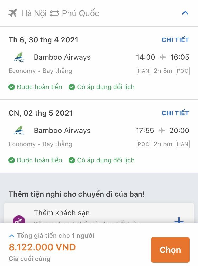 Giá vé máy bay từ Hà Nội đi Phú Quốc tăng cao đột biến. Ảnh chụp màn hình