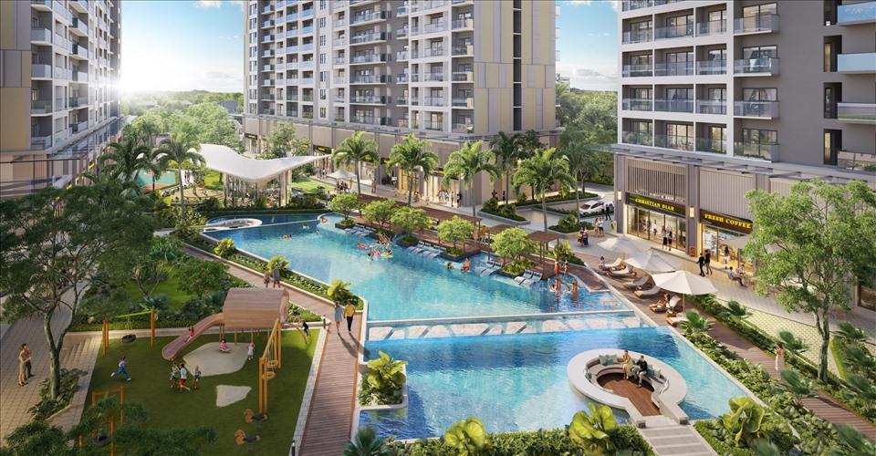 Khu hồ bơi rộng thoáng và hiện đại trong lòng khu căn hộ Lavita Thuan An