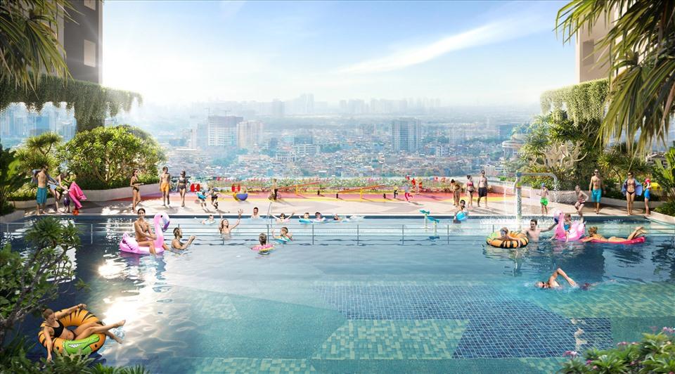 Hồ bơi sky pool tại tầng 5 của dự án Moonlight Centre Point mang lại nhiều trải nghiệm mới lạ cho cư dân. Ảnh: Hưng Thịnh Land