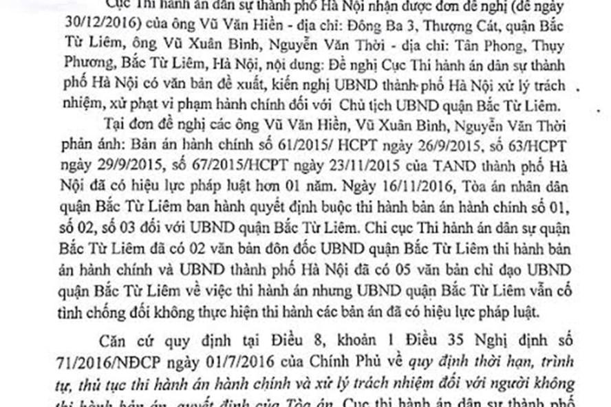 Công văn của Cục Thi hành án Hà Nội nhắc UBND TP Hà Nội.