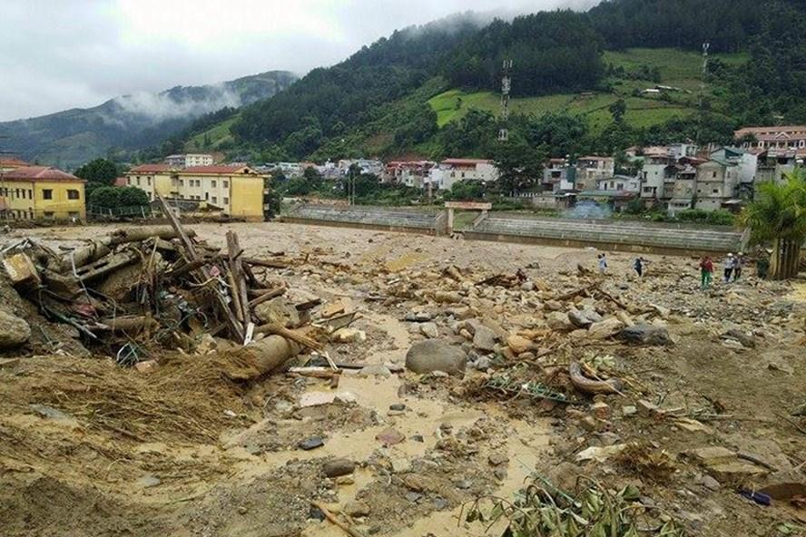 Hậu quả của trận lũ quét kinh hoàng tràn qua tổ 8, thị trấn Mù Căng Chải. Ảnh: Cường Ngô