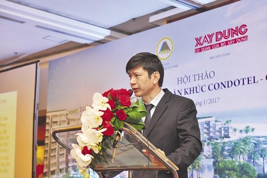 Ông Nguyễn Quốc Khánh - Chủ tịch TGĐ Công ty CP đầu tư và Phân phối DTJ - Chủ tịch liên minh sàn GD BĐS G5 phát biểu tại Hội thảo.