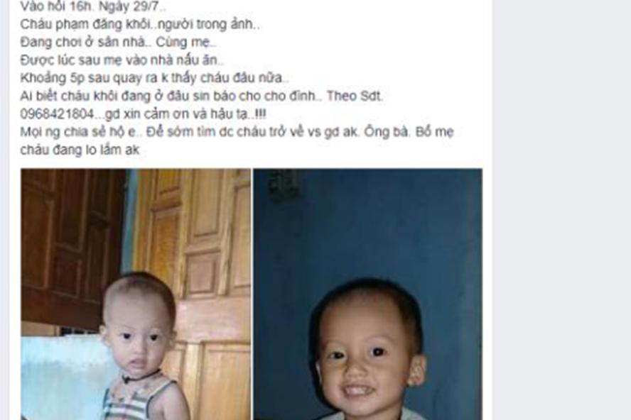 Hình ảnh bé Khôi và thông tin về việc bé mất tích trên mạng xã hội.