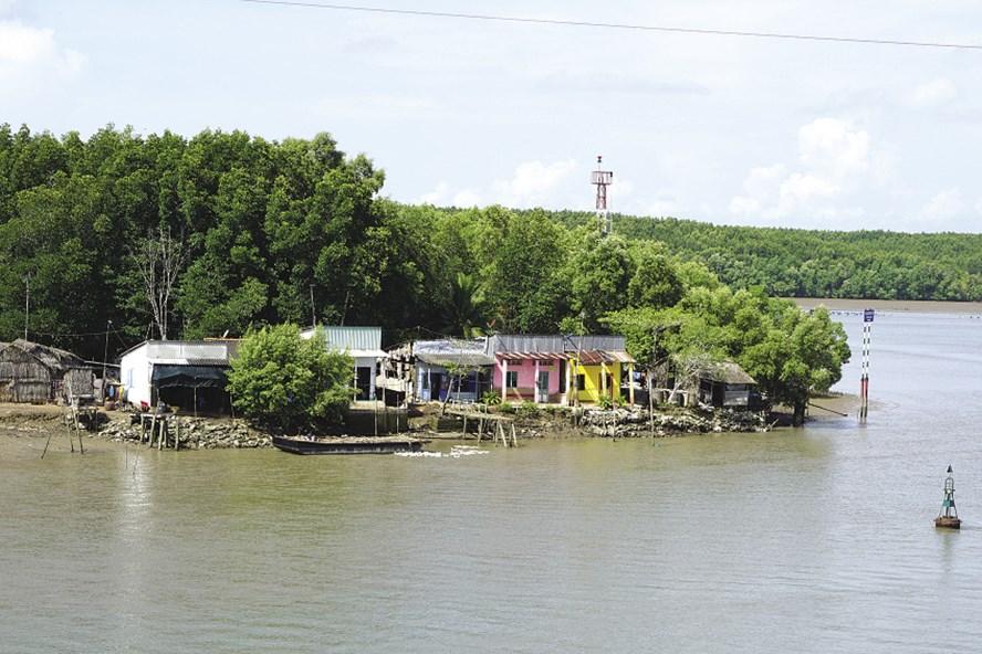 Do ảnh hưởng của nước biển dâng, hiện các nhà dân ở chân cầu Dần Xây (huyện Cần Giờ, TPHCM) lúc triều cao bị ngập đến 1,7m khiến việc sinh hoạt, đi lại rất khó khăn. Ảnh: MINH QUÂN