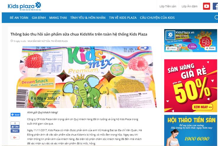 Thông báo thu hồi sản phẩm sữa chua Kidmix