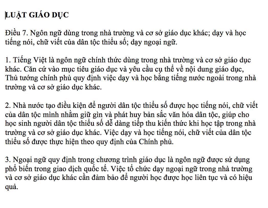 Bản chuẩn tiếng Việt.
