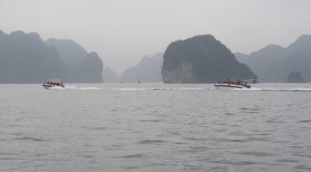 Xuồng cao tốc chở du khách vào thăm hang Luồn chạy cắt ngang luồng tàu du lịch. Ảnh: Nguyễn Hùng