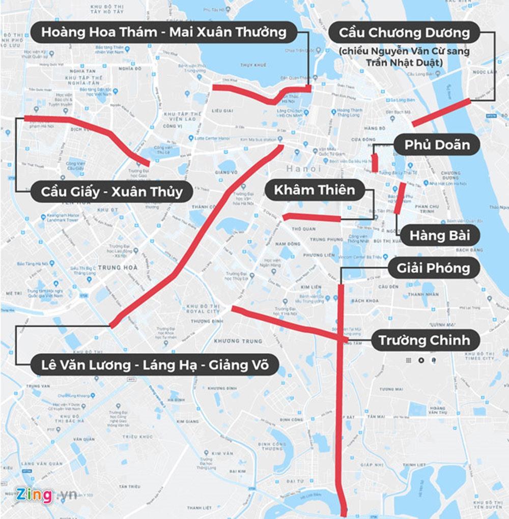 13 tuyến phố cấm xe hợp đồng giờ cao điểm ở Hà Nội.