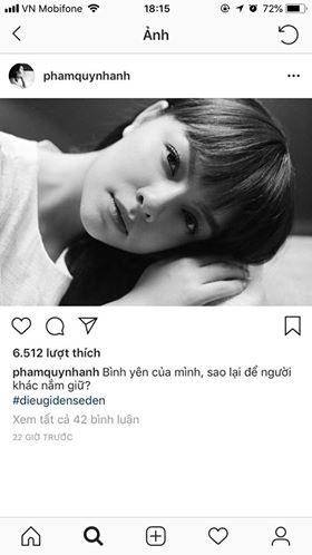 Dòng chia sẻ trên Instagram của ca sĩ Phạm Quỳnh Anh.