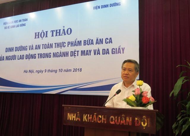 TS. Đỗ Trần Hải - Viện trưởng Viện Khoa học An toàn và vệ sinh lao động phát biểu khai mạc hội thảo. Ảnh: Xuân Trường